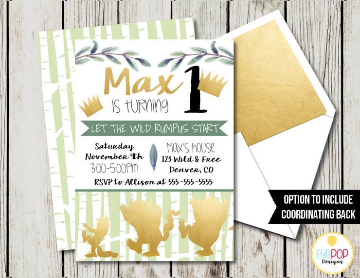 Where The Wild Things Are Invitation, Birthday Invitations, Party Invite, Wild One, Green, White, Gold, Watercolour, Leaves, Foliage, Woods by EyePop Designs