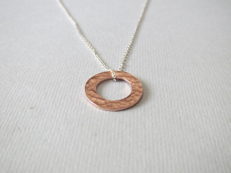 Copper Hammered Circle Pendant by Liwo Design