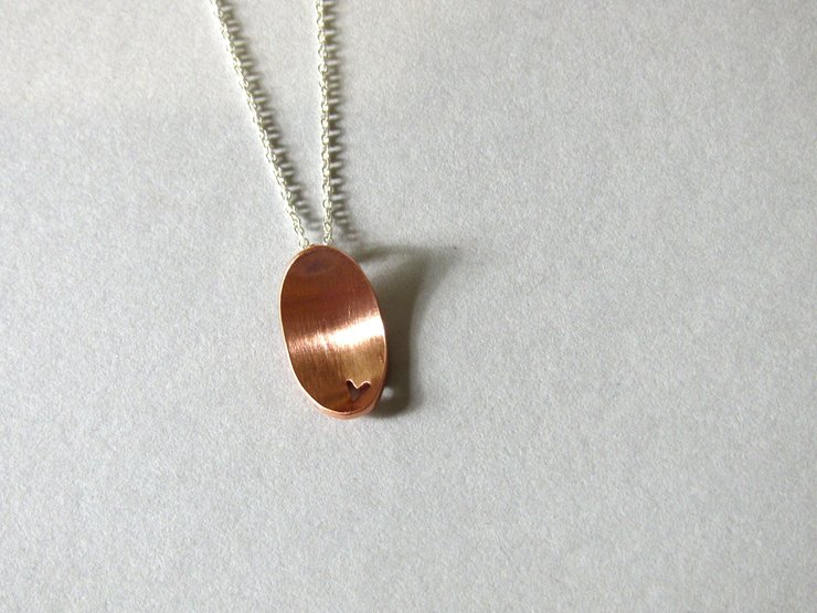 Oval Domed Copper Pendant with cut-out Heart by Liwo Design