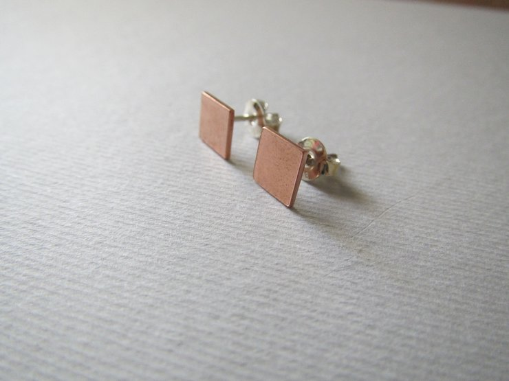 Copper Square Stud Earrings by Liwo Design