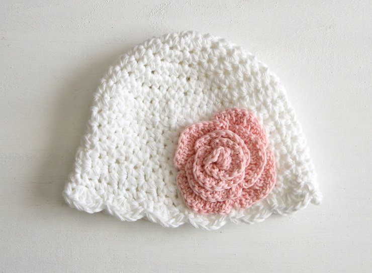 Handmade crochet Miriam baby hat by Croshka Designs