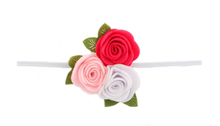 SET OF 2 Three Felt Roses Headbands on Skinny Elastic - Choose 2 colors! by Croshka Designs