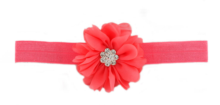 Elastic Headband with Chiffon Flower and Rhinestone - Choose color by Croshka Designs