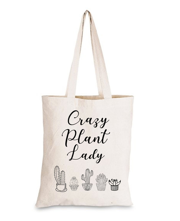 Crazy Plant Lady 100% Cotton Tote bag shopper gift  by Love & Sparkles