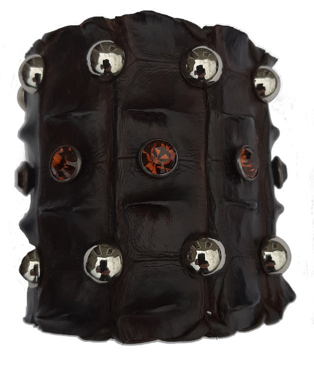 Croc Back Cuff/Bracelet with Swarovskis & Studs by Created in Eden