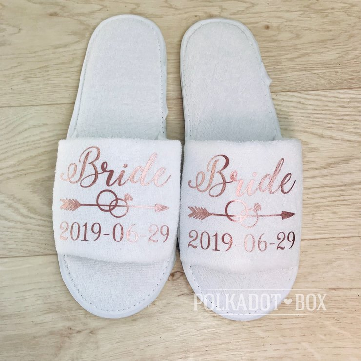 Custom Bride Wedding Slippers by Polkadot Box
