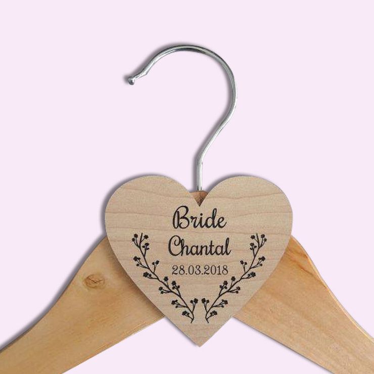 Personalised heart wedding hanger by Polkadot Box