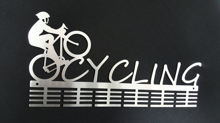 Cycling medal hanger in stainless steel brush finish by DC Designers-Medal Hanger Specialists