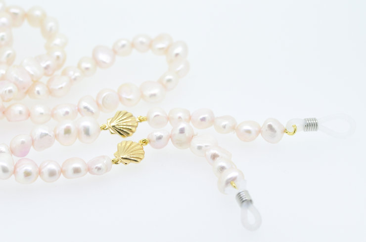 Pearl sunglass chain with scallop detail by Edel Designer Jewellery