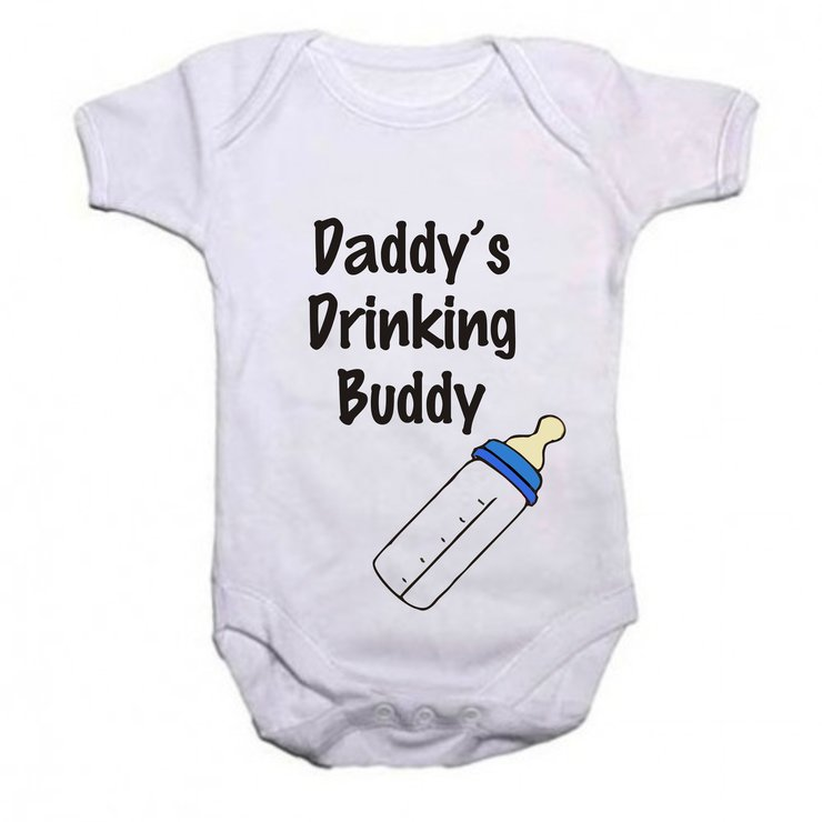 Daddy's drinking buddy boy baby grow by Qtees Africa (Pty)Ltd