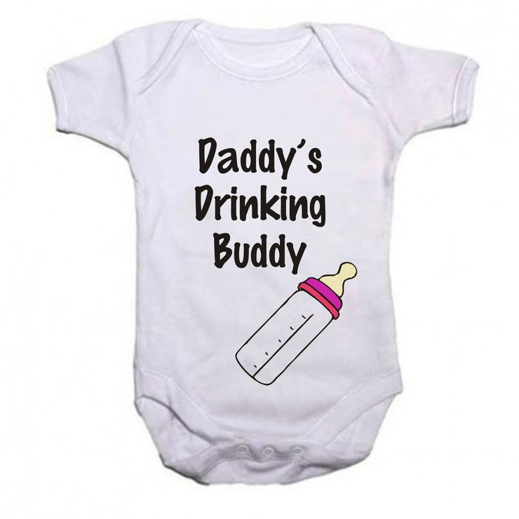 Daddy's drinking buddy girl baby grow by Qtees Africa (Pty)Ltd