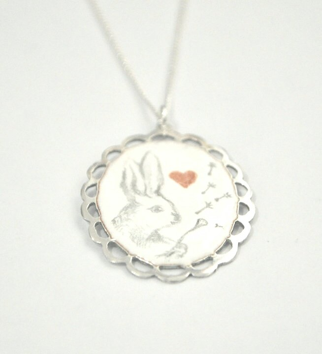 Dandelion Rabbit pendant by Antique Fusion Jewellery