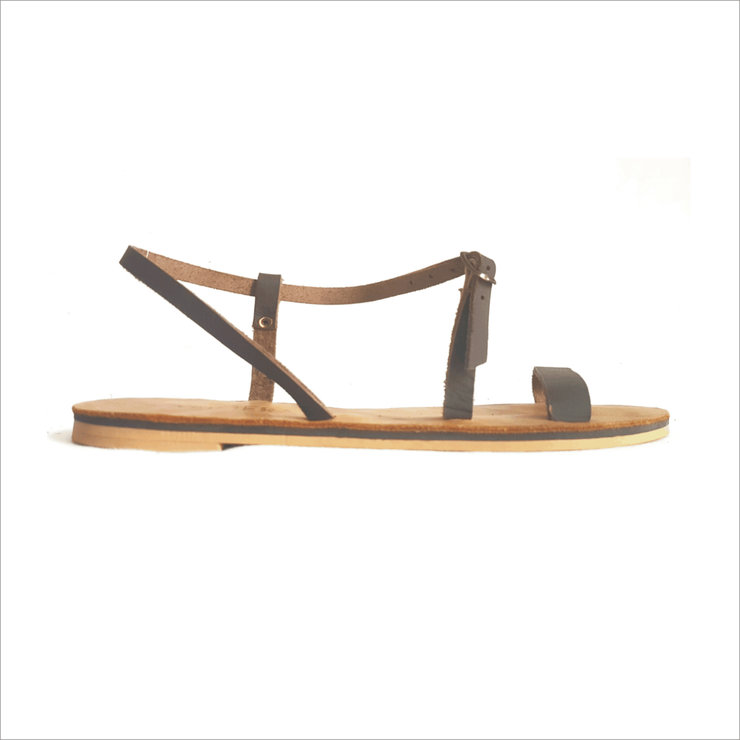 DAPHNE LEATHER SANDALS (DARK BROWN) by Kalimera SA