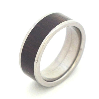 Titanium and Wood inlay square ring by Rings & Things