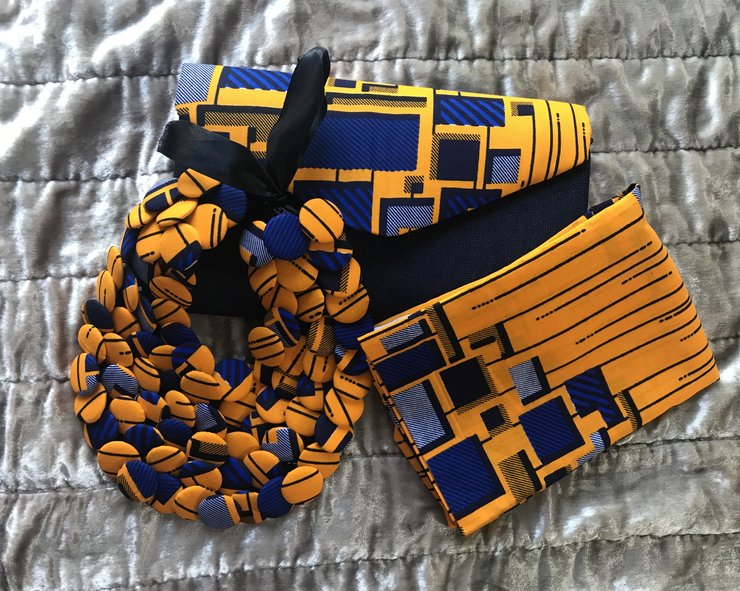 Large Neckpiece, clutch bag & head wrap by Afrikaren Designs