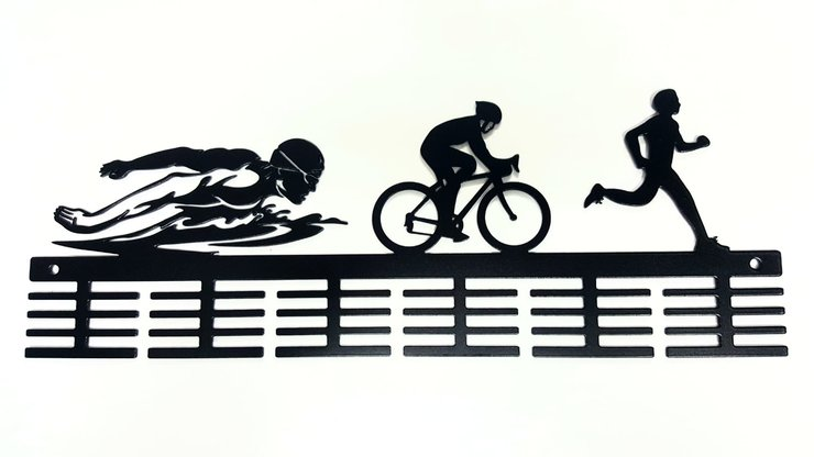 Swim Bike Run Male figurines 48 tier medal hanger Black by DC Designers-Medal Hanger Specialists