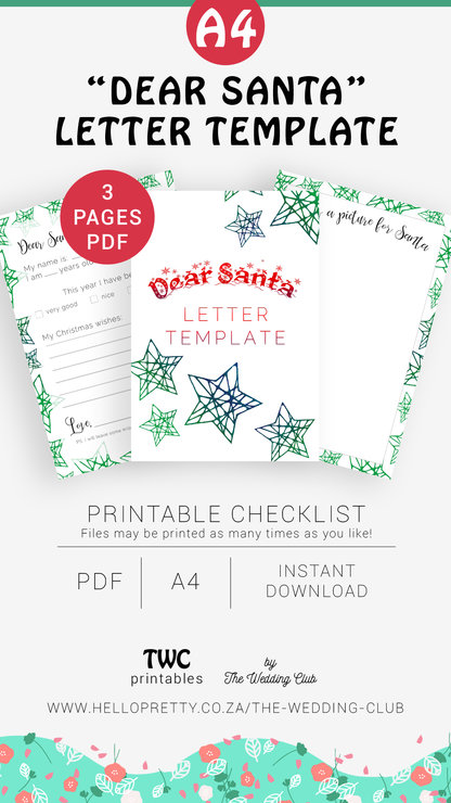Dear Santa Printable Letter Template Write A Letter To Santa