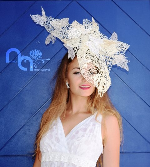 "Fascinator ""The Butterflies"" from manually perforated fabric designed & handmade by Natalia Alexandrova by Accessories by Natalia Alexandrova"