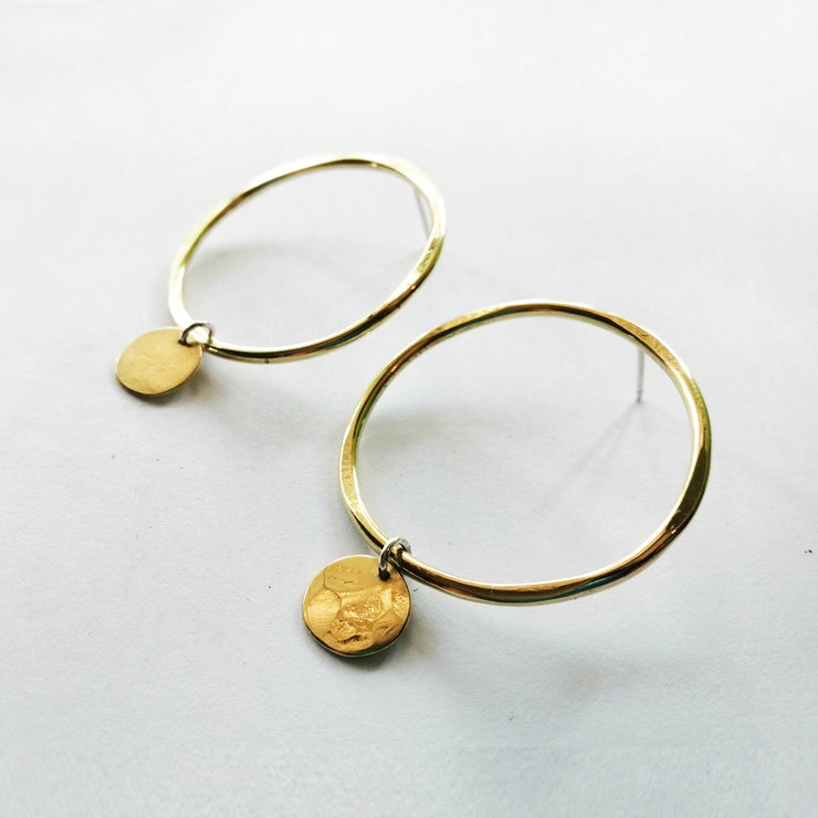 DHARMA Stud Earrings in Brass Large by Miss H Jewellery Design