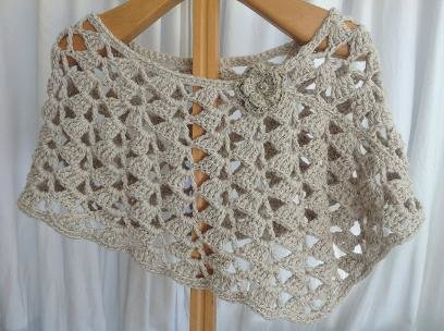 Crochet diagonals poncho in cotton and bamboo by Buglets by Barbs