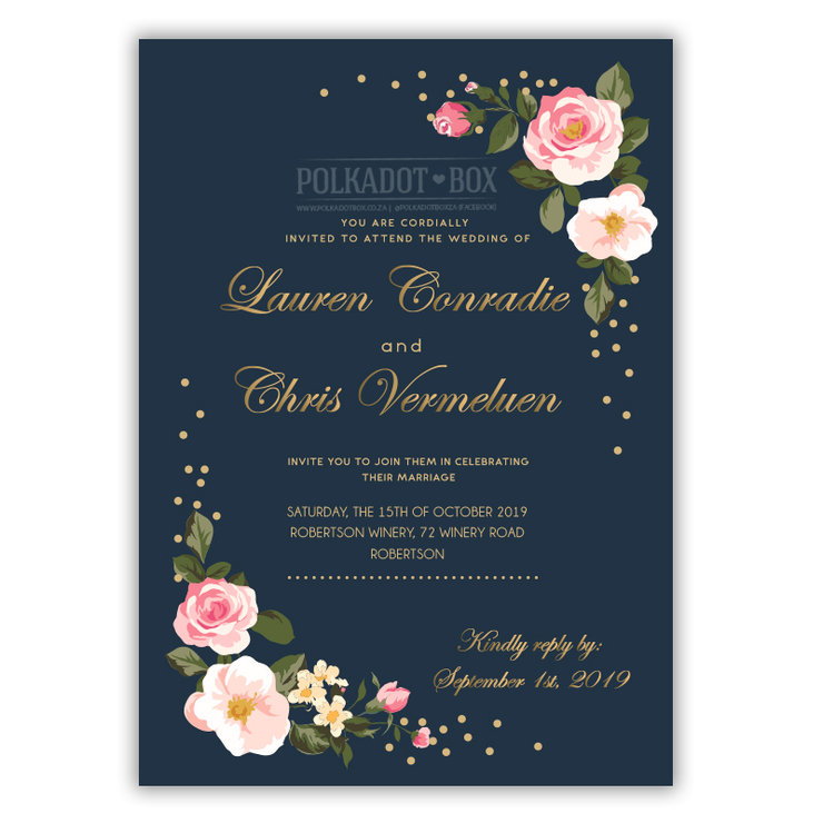 DIGITAL navy flroal wedding invitation  by Polkadot Box