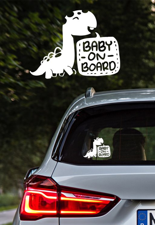 Dinosaur Baby On Board Vinyl Car Sticker Hello Pretty