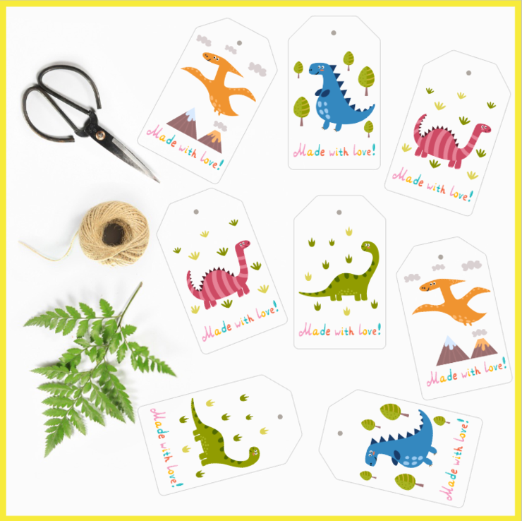 Dinosaur Gift Tags Set of 8 by The Art of Creativity Studio