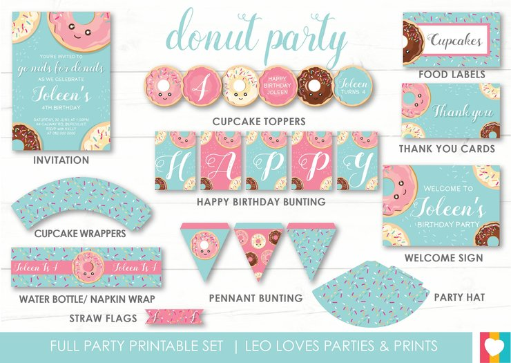 photo regarding Donut Printable called Donut Get together Printable Preset