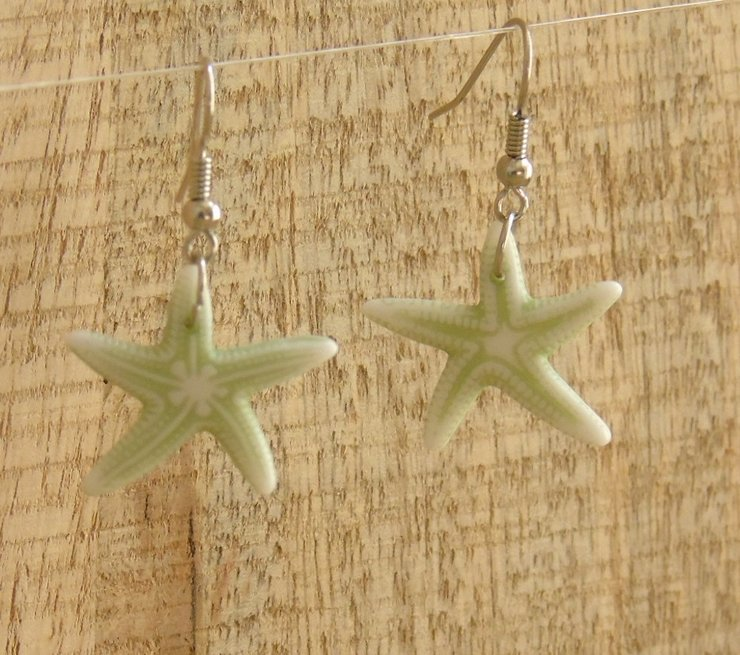 Light Green White Sea Star Earrings Mc09 009 By Mes Créations