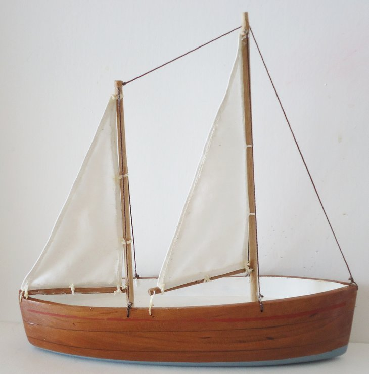 Twin mast wooden sail boat by Larijworks