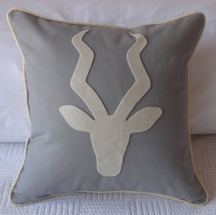 Kudu on Grey Cotton Canvas with Cream piping Cushion Cover by Creative Core