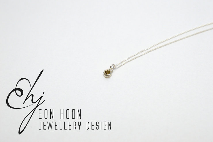 Sterling Silver tube set Citrine necklace by Eon Hoon Jewellery Design