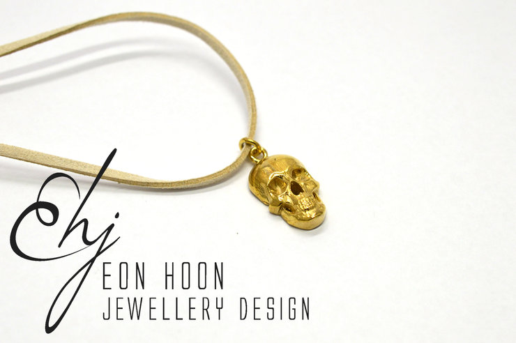 Brass Skull Necklace on beige leather Cord by Eon Hoon Jewellery Design