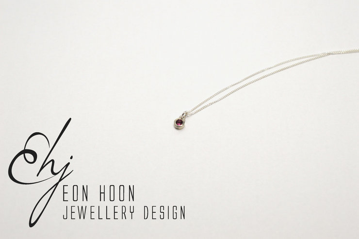 Sterling Silver tube set pink Tourmaline necklace by Eon Hoon Jewellery Design