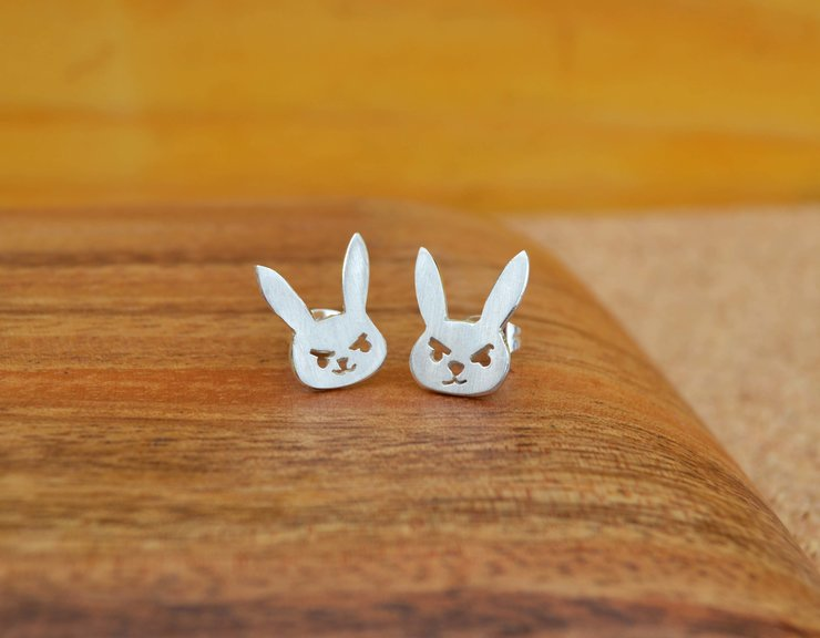 Angry bunny Earrings by Aurea Jewellery Design
