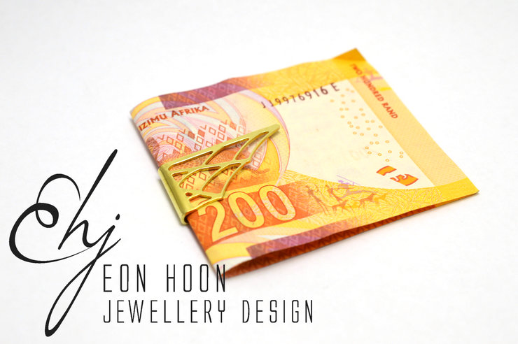 Brass Spiderweb Moneyclip by Eon Hoon Jewellery Design