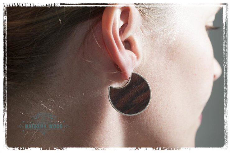 Sterling silver and wood circular shape stud earrings by Natasha Wood Jewellery