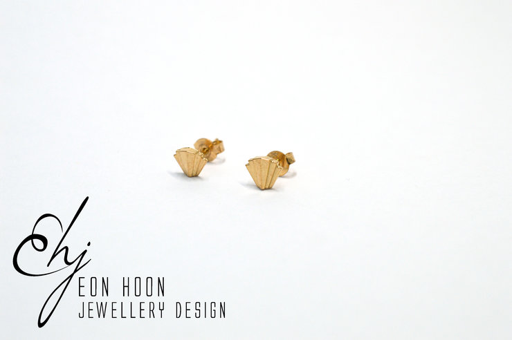 Rose Gold plated Art Deco Studs by Eon Hoon Jewellery Design