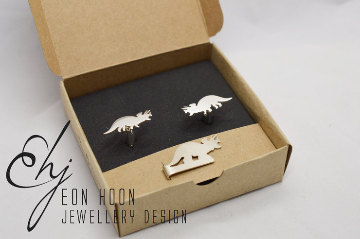 Triceratops Cufflinks and Tieclip set by Eon Hoon Jewellery Design
