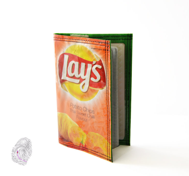 Passport cover upcycled chips packet  by Creative Lines