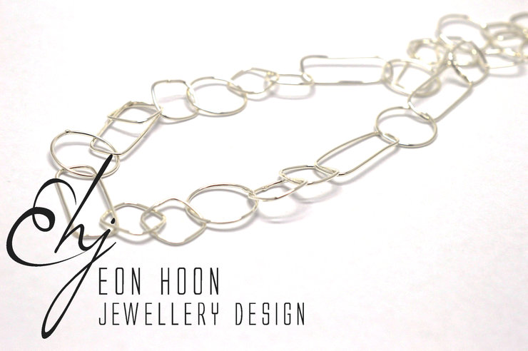 Sterling Silver Simple Shapes Wire Necklace by Eon Hoon Jewellery Design