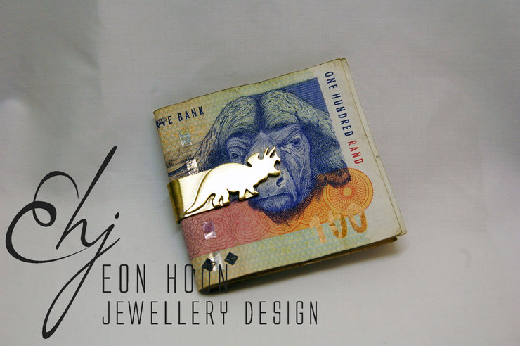 Brass Triceratops Money Clip by Eon Hoon Jewellery Design