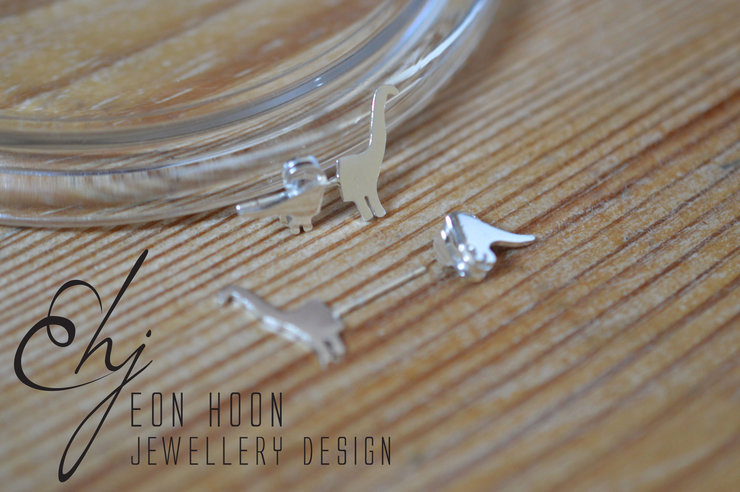 Brachiosaurus Front & Back Studs by Eon Hoon Jewellery Design