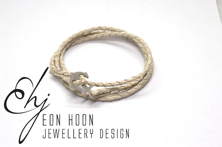 White Leather Anchor Wrap Bracelet by Eon Hoon Jewellery Design