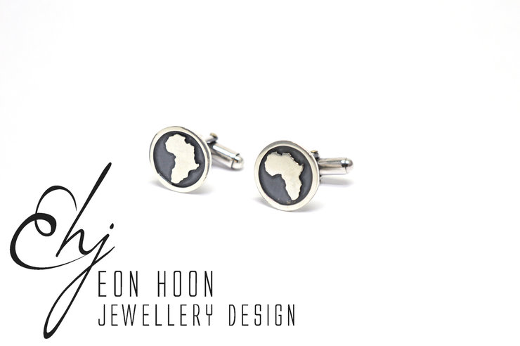 Sterling Silver Africa in Circle cufflinks by Eon Hoon Jewellery Design