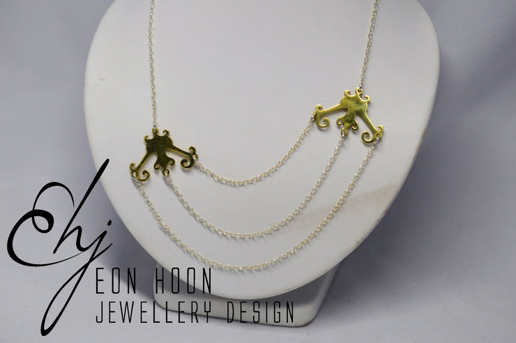 Three Chain Necklace with Brass Cutouts by Eon Hoon Jewellery Design