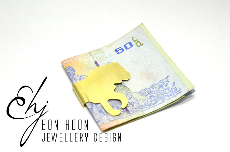 Brass Lion Money Clip by Eon Hoon Jewellery Design