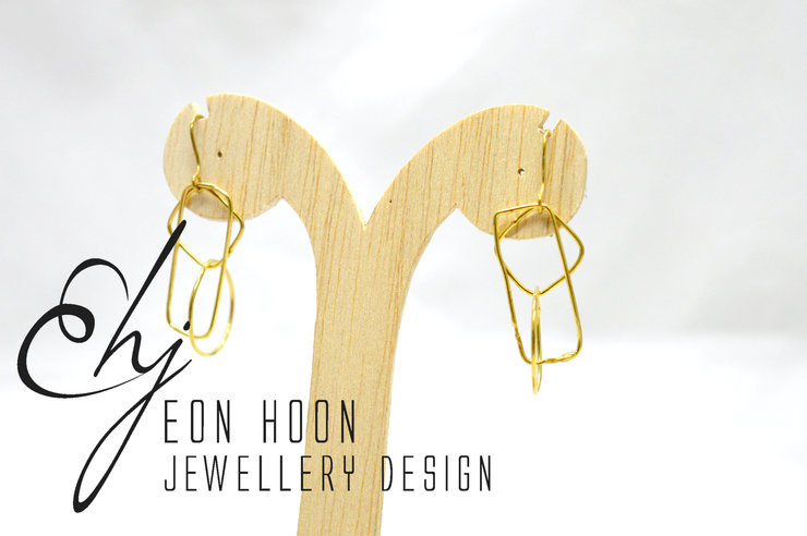 Gold plated Brass Simple Shapes Wire Earrings #1 by Eon Hoon Jewellery Design