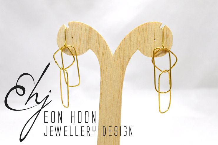 Gold plated Brass Simple Shapes Wire Earrings #3 by Eon Hoon Jewellery Design