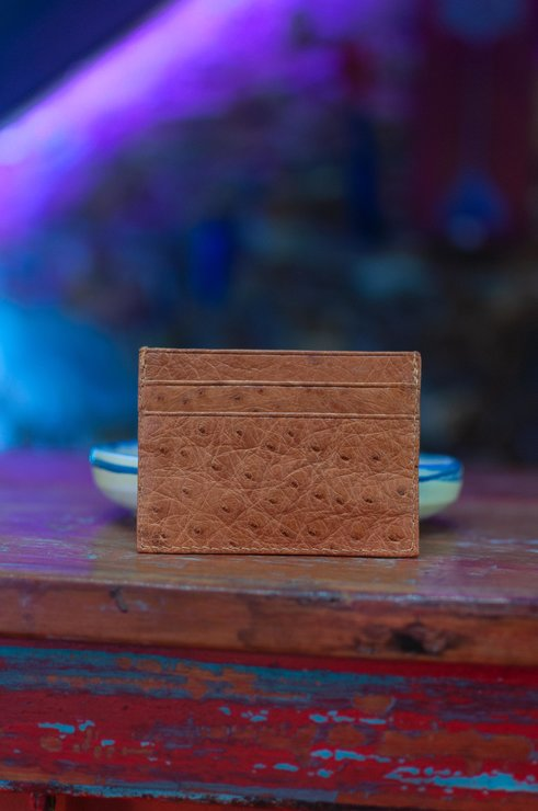 Brown Ostrich Leather Cardholder by Modern & Tribal Designs